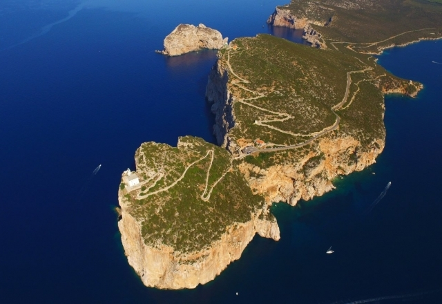Aerial overview of the lighthouse and the promontory